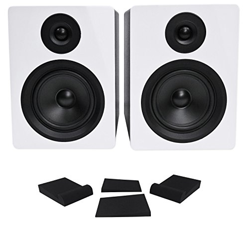 Pair Rockville APM5W 5.25' 2-Way 250W Powered USB Studio Monitor Speakers+Pads