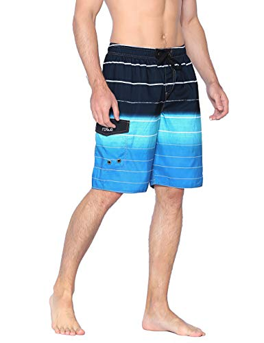 Nonwe Men's Beachwear Quick Dry Holiday Drawstring Striped Beach Shorts Blue 34