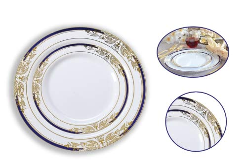 (Disposable Signature Blue Round Plate Set | 20 x 7.5 Salad Plate, 20 x 10.5 Dinner Plate | Special Occasion, Events, Weddings, Birthday Party's, Holidays, BBQ'S, Picnics.)