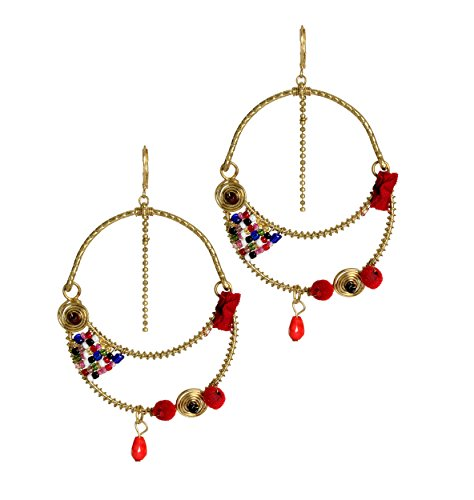 [Store Indya Gorgeous Pair of Tribal Dangle Disc Earrings Handcrafted Fashion Jewelry for Women &] (Tribal Costumes Of India)