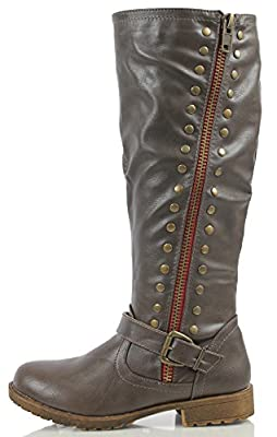 Bamboo Women's Faux Leather Red Side Zipper Knee High Low Heel Riding Boot