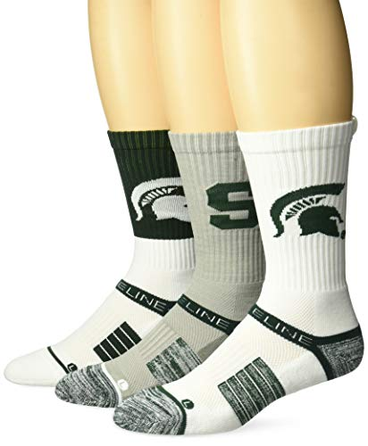Strideline NCAA Michigan State Spartans Premium Athletic Crew Socks, 3-Pack, Black, One Size ()