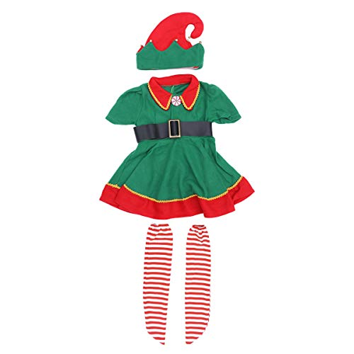 Christmas Costume Set Children's Green Elf Festival Costume Cosplay Parent-child Costume Suit for Girls - Size 120CM (Green)