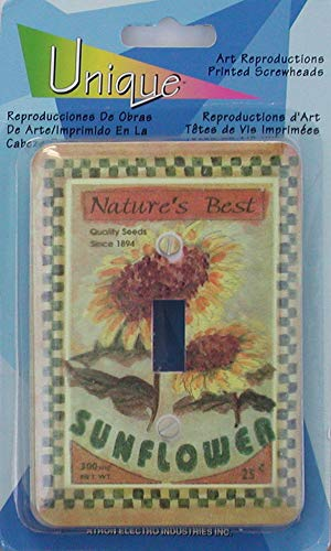Sunflower Toggle - Atron Art Reproductions Decorative Wall Plates/Switch Plates with printed Screws - Single Toggle (Sunflowers)