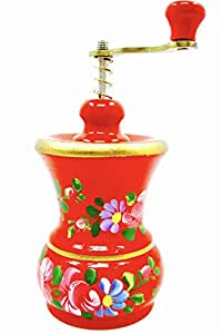 Dutch Vintage Spice Mill,wood,red,hand Painted Flowers,metal Handle