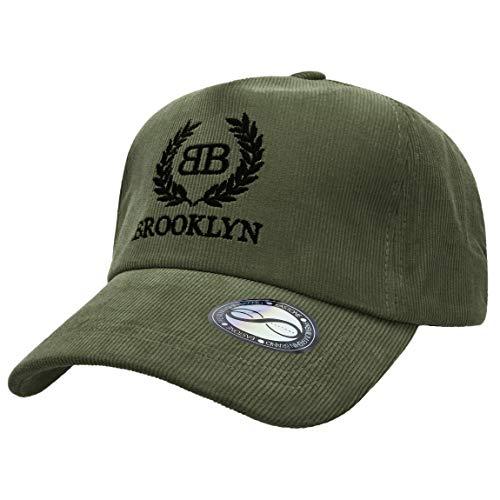 EASTONE Corduroy Brooklyn Logo Embroidery Cotton Baseball Cap Adjustable Cotton Trucker Hat (Green)