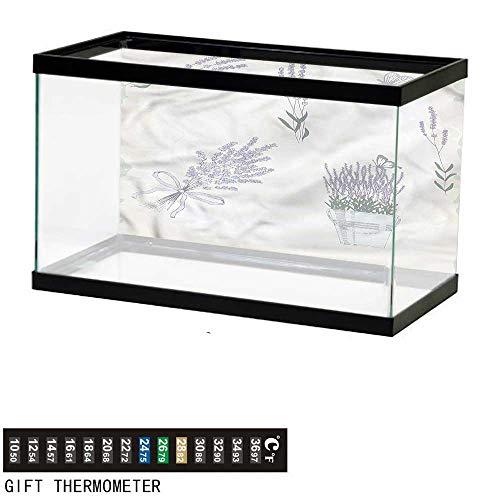(bybyhome Fish Tank Backdrop Lavender,Rustic Butterflies Bouquet,Aquarium Background,24