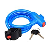 Security Lock Mountain/Road Bicycle Cable Locks With Keys Anti-theft Blue