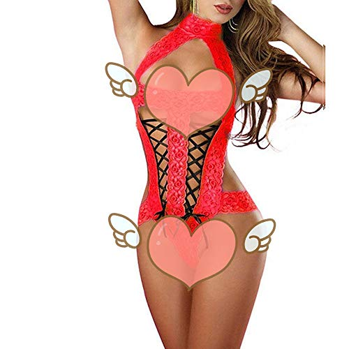 QUNANEN Lingerie for Women for Sex Play, Fashion Sexy Bow Lace Racy Underwear Spice Suit Temptation Underwear Red