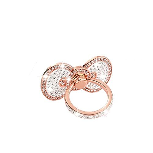Universal Cell phone holder,Sunvy New Design Luxury Full Diamond Buttefly Ring Grip Stand Car Mounts for Iphone, Ipad, Samsung HTC Nokia Smartphones Great Gift (Rose Gold)