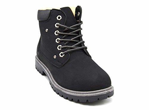 Oh My Shop SHF101 * Bottines Boots Style Randonnée avec Doublure Fourrée et Bord Simili Cuir (Noir)