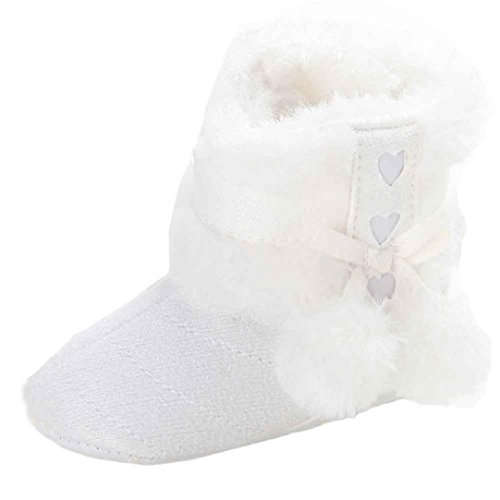 DDLBiz Baby Girls Lovely Furry Ball Soft Sole Snow Boots Warm Toddler Boots (0~6Month /4.3inch, White) -