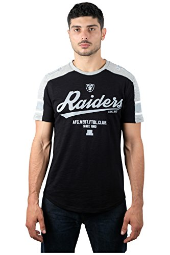 Oakland Athletics Gear (NFL Men's Oakland Raiders T-Shirt Vintage Varsity Stripe Short Sleeve Tee Shirt, Large, Black)