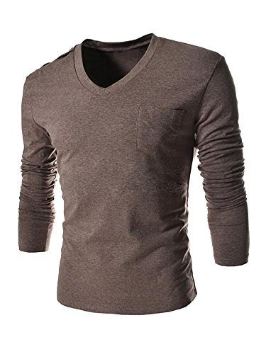 Tenkilo Men Long Sleeve T Shirt Slim Fit V Neck Casual Cotton Chest Pocket Athletic Gym Tee Outwear Shirt Brown