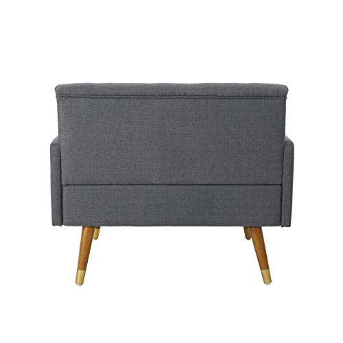 Christopher Knight Home 305843 Nour Fabric Mid-Century Modern Club Chair, Dark Gray, Natural - 4