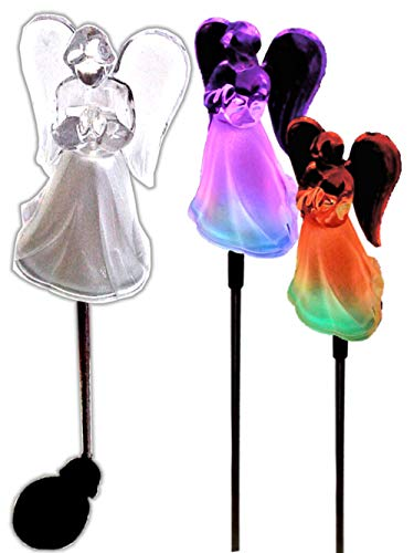 Acrylic Solar Angel Lights with A Frosted Skirt Solar Garden Stake - Box of 2 by BRILLIANT AND MO