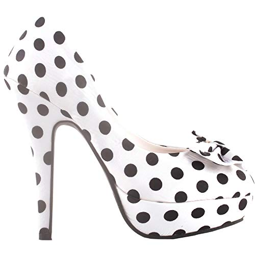 SHOW STORY White Two Tone Spot Polka Dots Bow Stiletto Platform High Heel Pump,LF30406AW39,8US,White