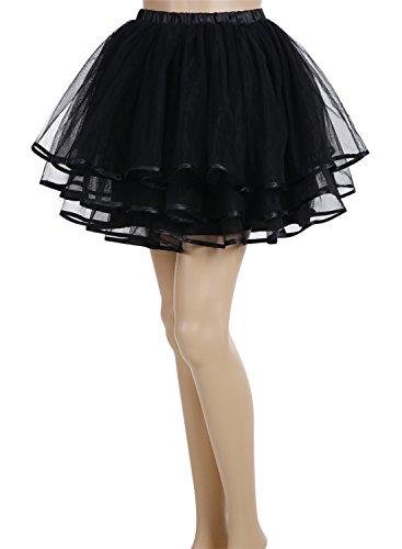 Ruffle Petticoat (BeryLove Women's A Line Short Tulle Petticoat Underskirts Ruffle Tutu Skirt Black Size)