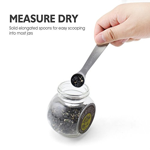 Large Product Image of 1Easylife 18/8 Stainless Steel Measuring Spoons, Set of 6 for Measuring Dry and Liquid Ingredients