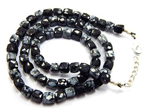 Gems World Beautiful Jewelry Obsidian Gemstone Briolette Black Faceted Cube Beads 6mm 19 inch 1 Strand Necklace Snowflake Obsidian Cubes Code-COM-2764