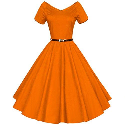 orange skater dress - 7