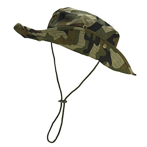 FALETO Outdoor Boonie Hat Wide Brim Breathable Safari Fishing Hats UV Protection Foldable Military Cap]()