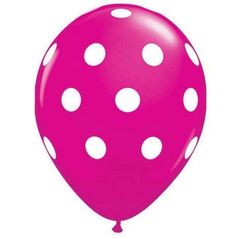 Party decoration Pink Polka dot balloons (12) latex -