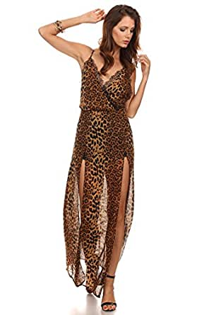 MeshMe Womens Fiona - Brown Feline Jaguar Patterned Print Cheetah Leopard Cat Animal Printed Pattern Lace Trim X Open Back Chiffon Side Slit Sheer Lined Cami Camisole Strap Surplice Maxi Dress Small