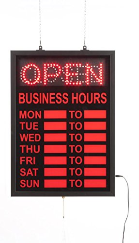 Displays2go Neon Open Sign with Hours of Operation, Lighted Business Hours Window Display - Red Illumination (LEDOPCL02) -