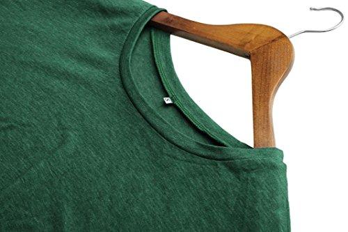 Bottone Abcone Lunghe Felpa Collo T donna Tops Verde Rotondo Solido Camicie Elegante Autunno Casual Trim shirt Pullover Maniche Camicette tw1wPr