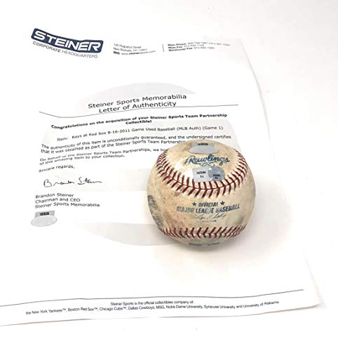 (Boston Redsox 8/16/11 Vs Tampa Bay Devil Rays Game Used MLB Baseball (Actually Used In This MLB Game) Steiner Sports Certified)
