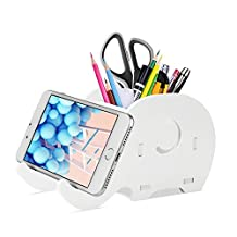 Desk Supplies Organizer, Cute Elephant Pen Pot Pencil Holder with Cell Phone Stand Tablet Desk Bracket for iPad iPhone Smartphone, Multifunctional Office Desk Tidy Stationery Organizer Box, Made by Fynix