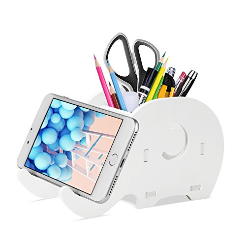 COOLOO Pencil Holder Cell Phone Stand, Cute Elephant Office Accessories Tablet Desk Bracket Compatible with iPhone iPad Smartphone, Desk Decoration Multifunctional Stationery Box Organizer. -