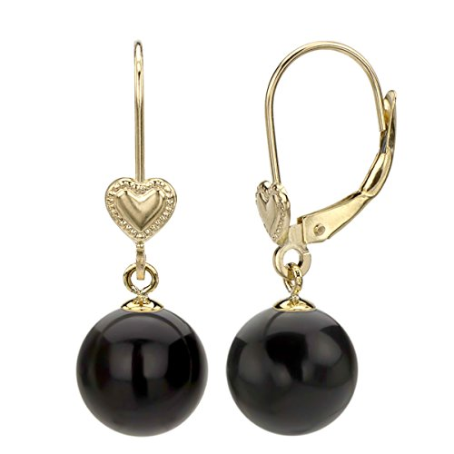 - 14k Yellow Gold 8-8.5mm Round Simulated Black Onyx Heart Design Lever-back Earrings