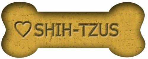 Imagine This 7-Inch by 2-1/4-Inch Car Magnet Biscuit Bones, Love Shih Tzus (Bone Tzu Shih)