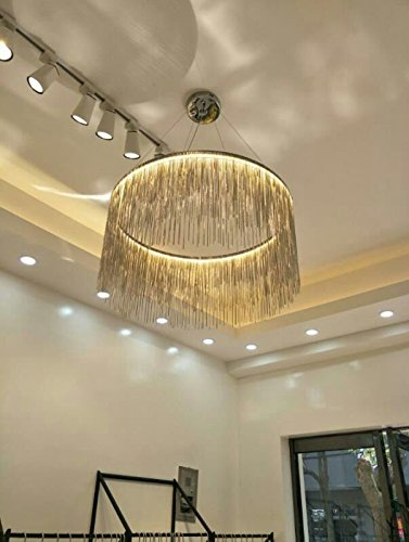 7PM H12.6'' x W19.7'' Modern Round Aluminum Chandelier Light Lamp Modern Contemporary Chandelier Lighting Fixture for Bathroom Foyer Entry