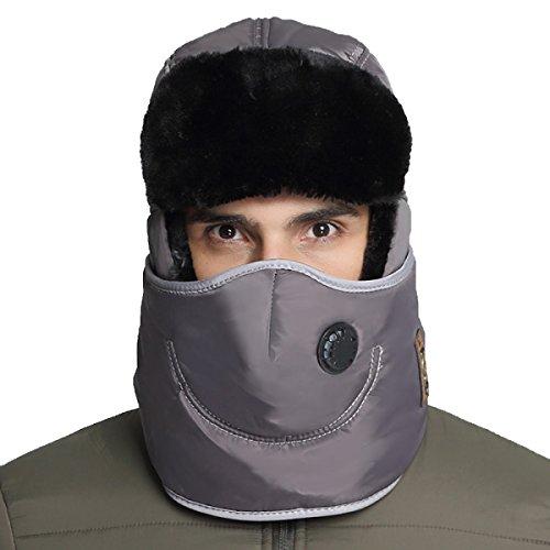 Hombres Winter Warm Bomber Hat Máscara A Prueba De Viento Winter Ear Flap Outdoor Sports Snow Máscara A Prueba De Viento Classic Gray