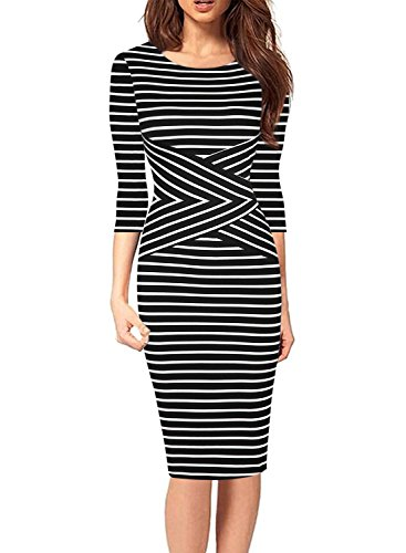 SYLVIEY Women's Summer Striped Sleeveless Wear To Work Casual Party Pencil Dress (Large, Black-3/4 (Party Pencil)