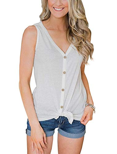EasySmile Womens Button Down Tank Tops Tie Knot Shirts Loose Fitting V Neck Casual Tunics Blouses S-XXL (White, Small)