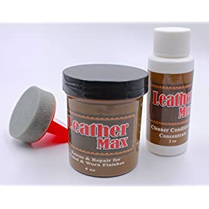 Leather Repair Kit / Leather Color Kit / Cleaner / Color Restorer / Sponge Applicator (Leather Repair) (Vinyl Repair) (Leather Dye) (Black)