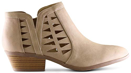 MARCOREPUBLIC Oslo Womens Perforated Cut Out Side Medium Low Stacked Block Heel Ankle Booties Boots - (Camel PU) - 8.5 ()