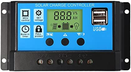 30A Charge Controller Solar LCD Display Charge Regulator Intelligent Dual USB Port Charger 12V-24V