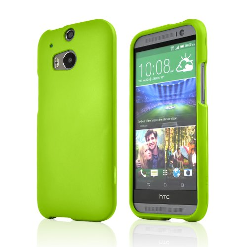 One (M8) Case, [Neon Green] Slim Grip Rubberized Hard Plastic Case for HTC One (M8) (2014)