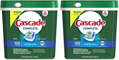 Cascade Complete ActionPacs Dishwasher Detergent, Fresh Scent, 78 Count (.2 Pack (156 ActionPacs))
