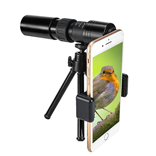 CameCosy New Monocular Telescope(2020),10-300X40mm Super Zoom Monocular Spyglass[Day & Low Night Vision]Portable Binoculars with Smartphone Clip & Tripod for Birdwatching, Hunting, Camping,Sightseeing