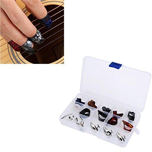 Thumbpicks Finger Pick, 15Pcs dedo pulgar de dedo índice Finger Guitar Picks Protector accesorio con caja de almacenamiento...