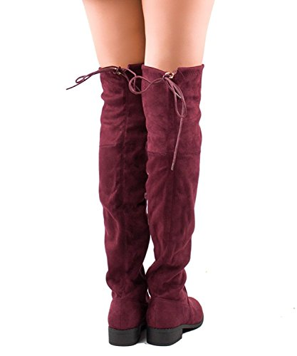 Low Boots Breeze Burgundy Elantra Chunky Stretchy Womens Nature High Heel 01 Thigh Suede 1xgq7xvwH
