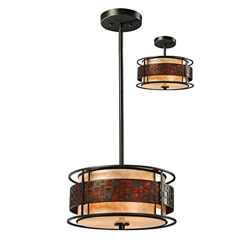 Z-Lite Z14-50P-C 3-Light Pendant, White and Amber Mica Shade ()