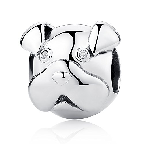 XingYue Jewelry S925 Sterling Silver Poodle Dog Bead Charm,Sparkling AAA CZ Puppy Dog Paw Footprint Animal Bead Charms (Pet puppy dog charm)