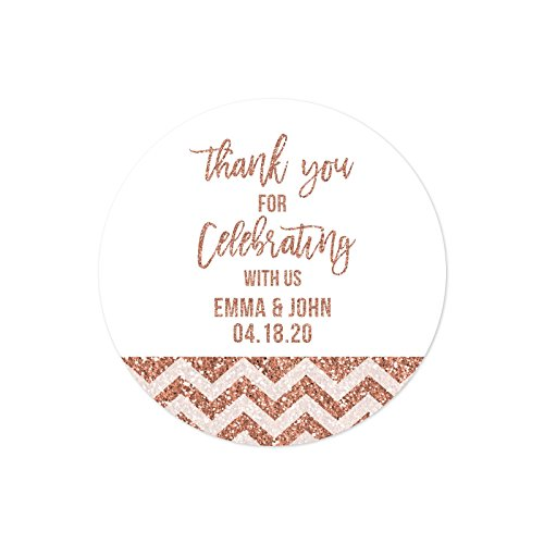 - Andaz Press Rose Gold Faux Glitter Wedding Party Collection, Personalized Round Circle Label Stickers, Thank You for Celebrating With Us, 40-Pack, Champagne Colored Decor Decorations, Custom Name